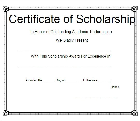 Sample Scholarship Certificate Template - 9+ Documents in PSD, PDF - sample scholarship certificate