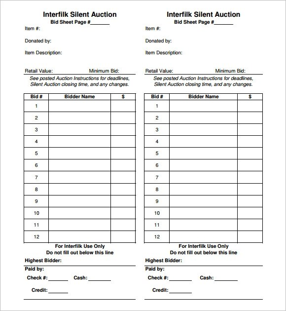 Silent Auction Bid Sheet Template Printable Images - Template Design
