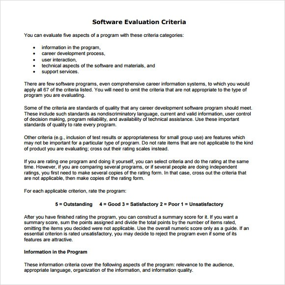 Software Evaluation Form Evaluation Template Word Training - sample software evaluation