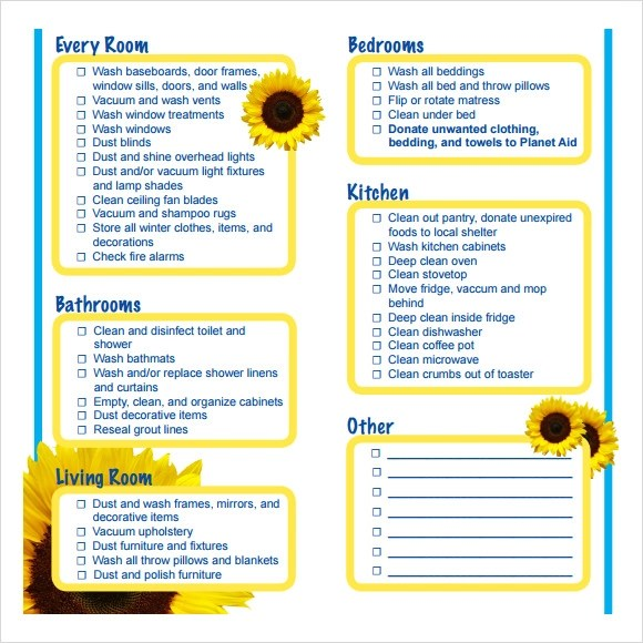 11+ Spring Cleaning Checklist Samples Sample Templates - Sample Spring Cleaning Checklist