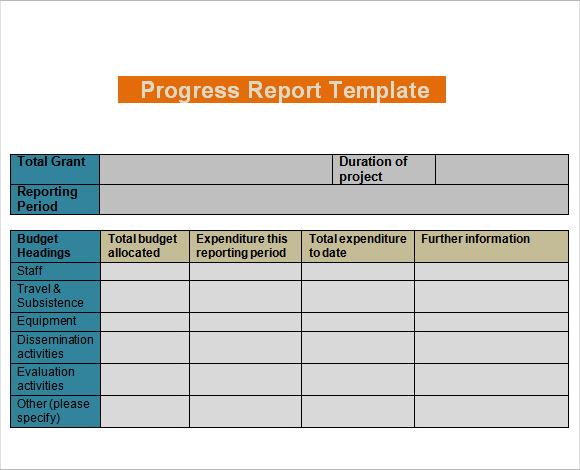 Sample Progress Report - 11+ Examples  Format