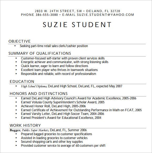 free resume templates high school students