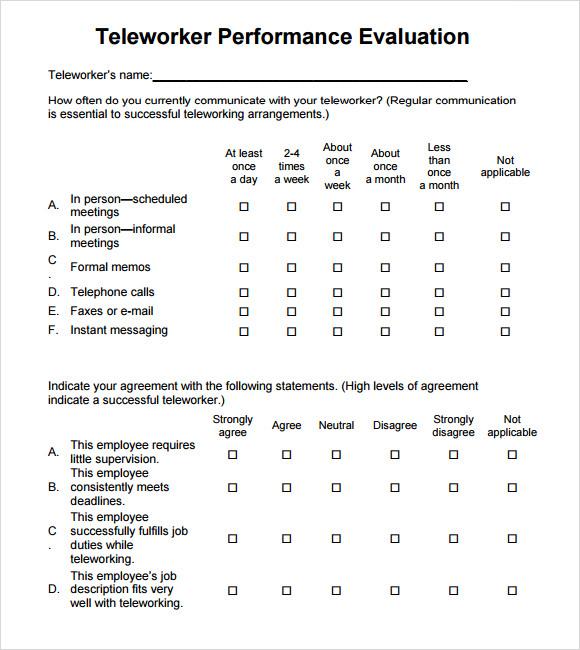 8+ Performance Evaluation Samples Sample Templates - performance evaluation