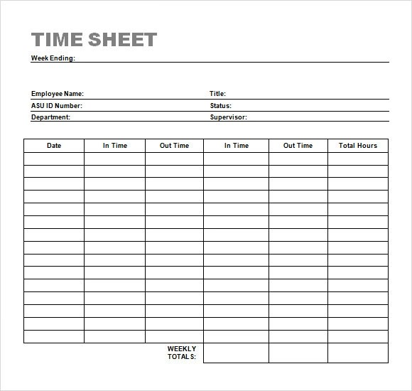 employee timesheet template word - free timesheet forms