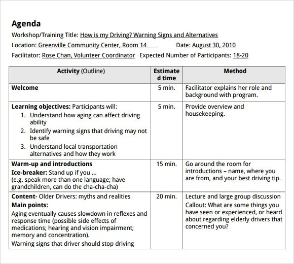 workshop agenda template microsoft word - Agendas Templates