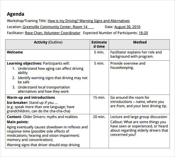 8+ Training Agenda Samples \u2013 PDF, Word Sample Templates - training agenda template