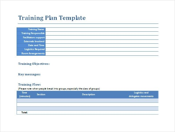 Training Plan Template Word - sample training plan