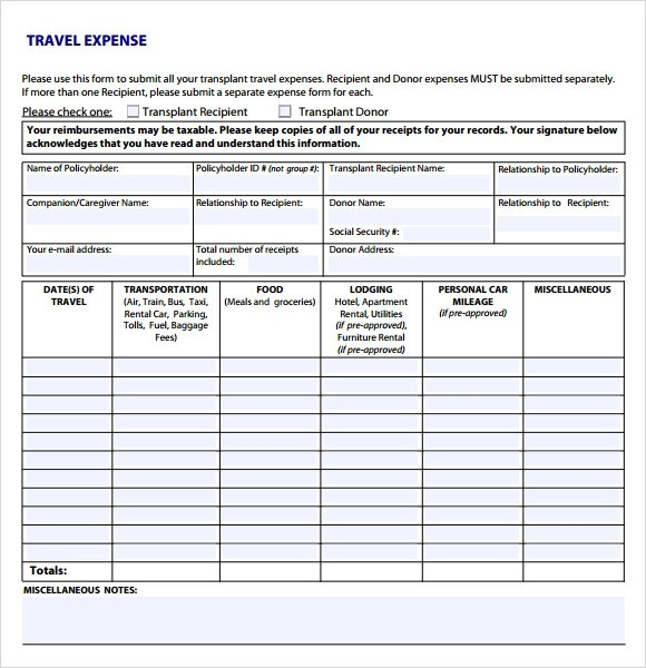 9+ Sample Expense Sheets Sample Templates