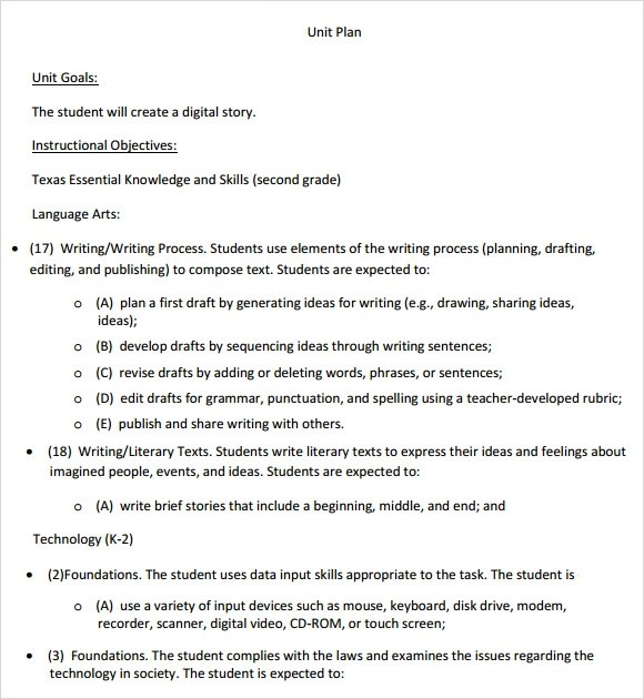 Unit Plan Template 11 Download Documents In Pdf Word Sample Unit Plan 7 Example Format