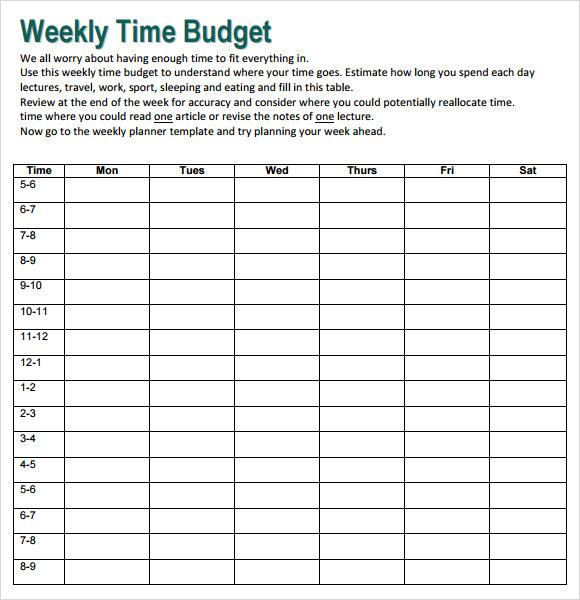 weekly budget sheets