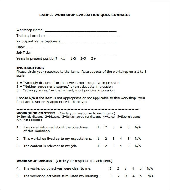 Training Evaluation Form Questions | Resume Outline For Trades