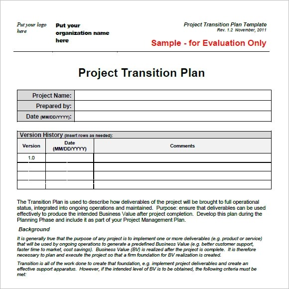 Transition Plan Template \u2013 8+ Free Samples , Examples , Format
