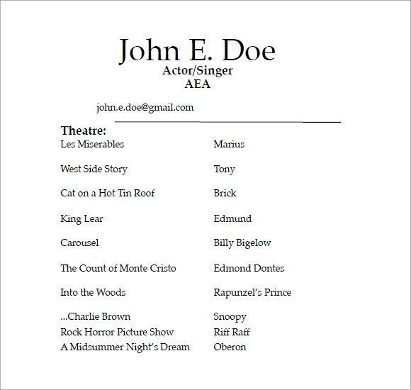 Acting Resume Template 25 Best Ideas About Acting Resume Template - sample acting resume