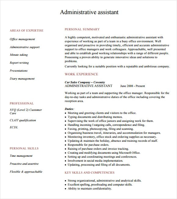 9 Administrative Assistant Resume Templates \u2013 Free Samples - administrative assistant resume samples free