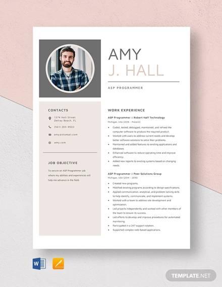 asp net resume sample download