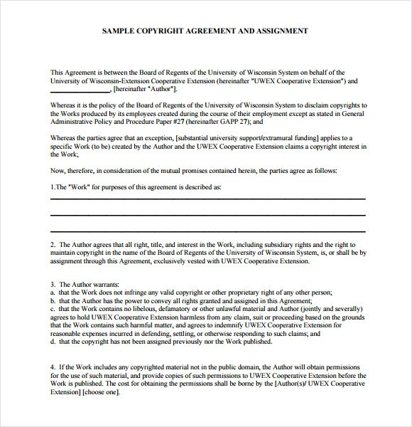 6+ Sample Assignment Agreements Sample Templates
