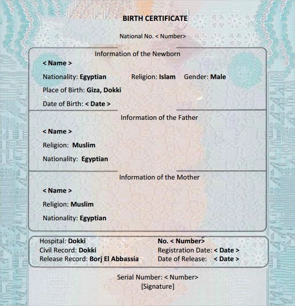 Birth Certificate Sample - Birth Certificate Template Printable