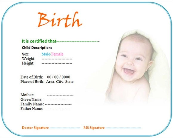 8 Birth Certificate Templates \u2013 Free Examples , Samples  Format