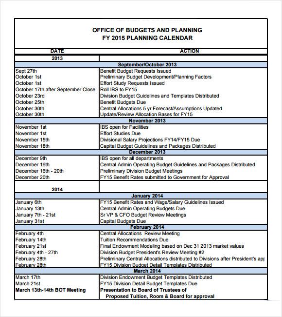 7 Budget Calendar Templates \u2013 Free Samples , Examples  Format - sample budget calendar