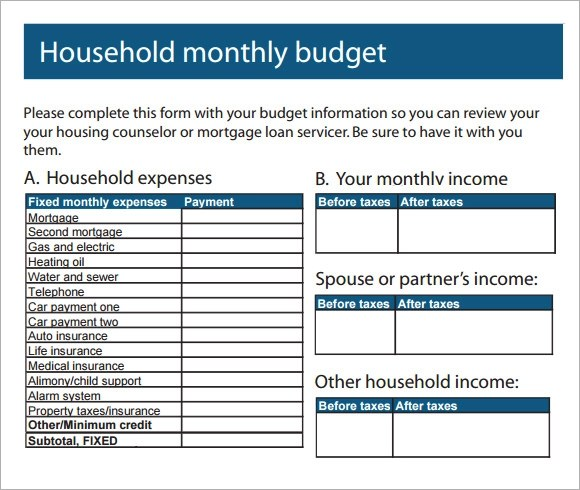 11+ Household Budget Samples Sample Templates