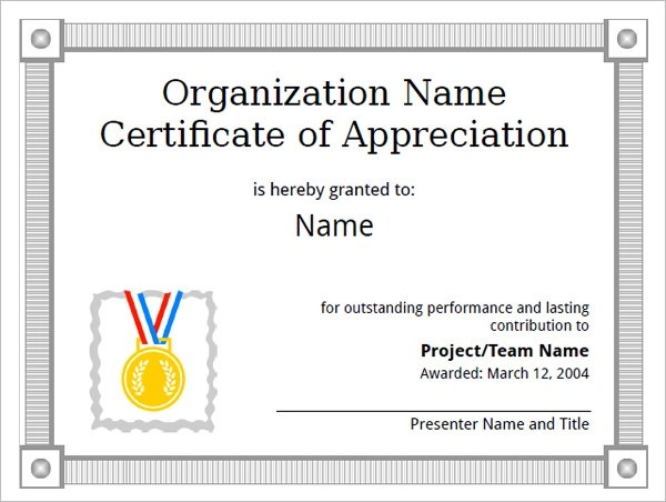 sample certificate of appreciation template trattorialeondoro - Sample Certificate Of Appreciation