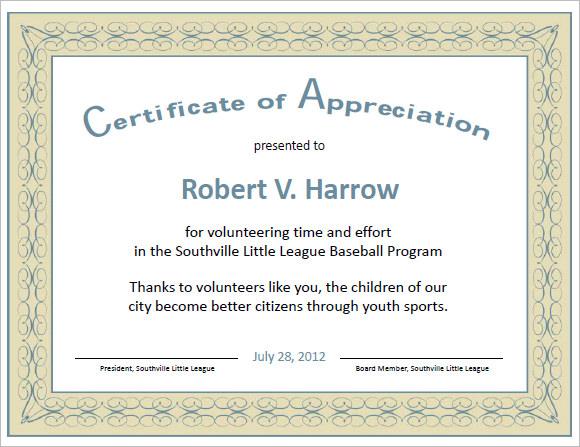 21 Certificate of Appreciation Templates \u2013 Free Samples, Examples - example of certificate of appreciation