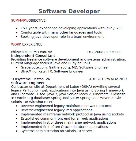 7 Java Developer Resume Templates \u2013 Samples , Examples  Format - java developer resumes