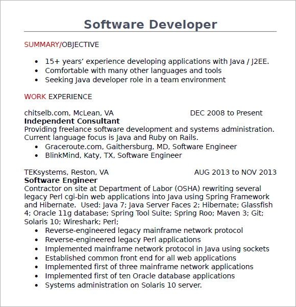 resume of java developer