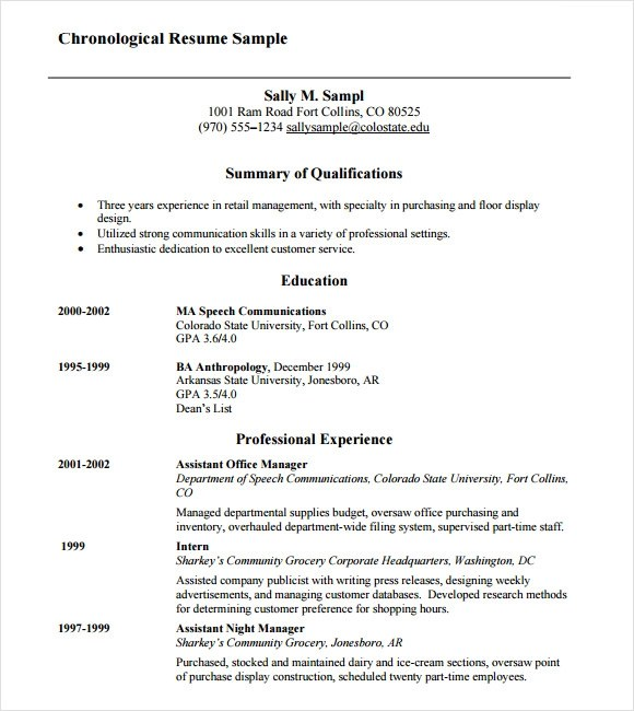 Resume Templates Chronological Resume 9 Samples Examples Format