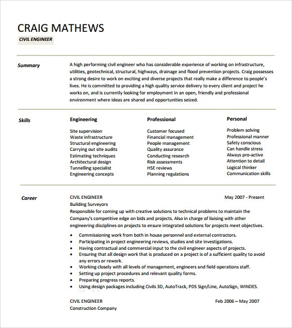 7+ Sample Civil Engineer Resume Templates \u2013 Free Samples , Examples - Engineer Resume Template