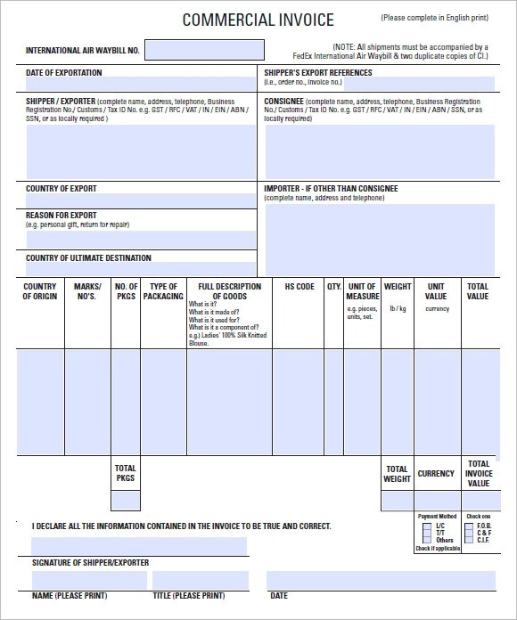 Download Free Commercial Invoice Template Excel | Rabitah.Net