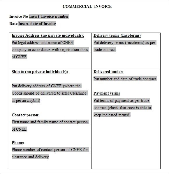 9 Commercial Invoice Templates \u2013 Free Samples , Examples  Format - printable commercial invoice