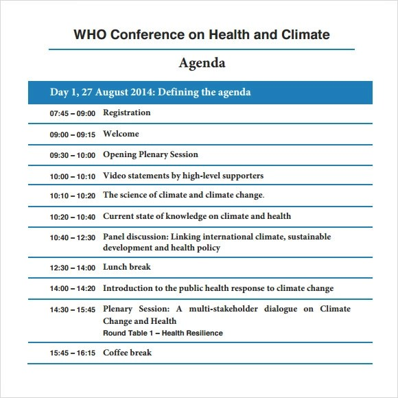 Sample Conference Agenda  2013 7+ Documents In PDF, Word - format for an agenda