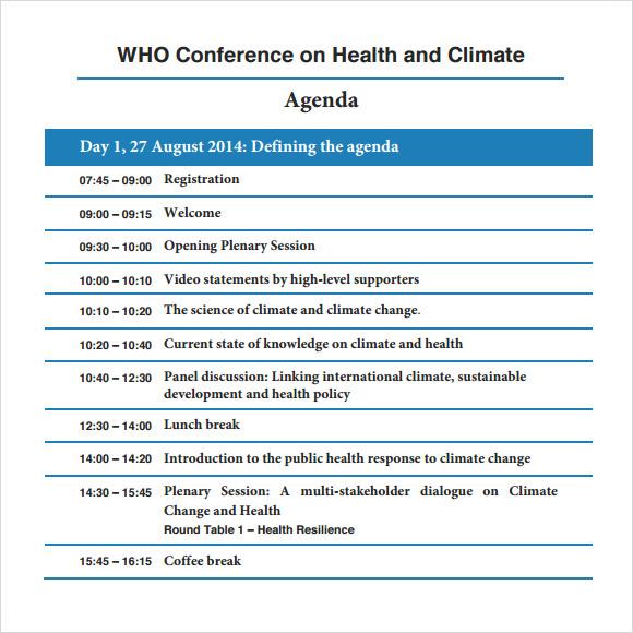 8+ Conference Agenda Samples Sample Templates - conference agenda