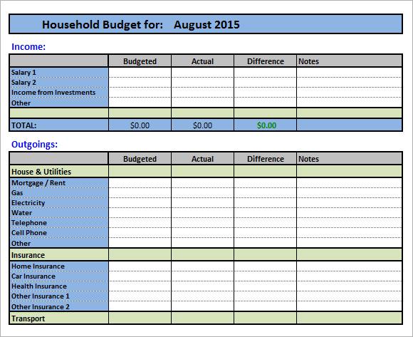 household budgeting worksheet