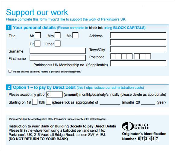 Donation Pledge Form Template  NodeCvresumePaasproviderCom