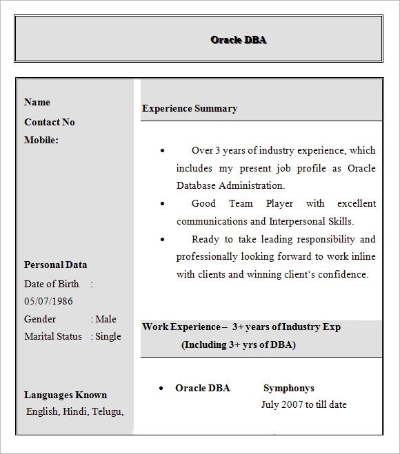 10+ Sample Database Administrator Resume Sample Templates