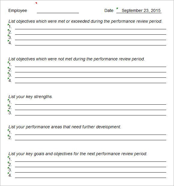 Doc728943 Sample Performance Evaluation Sample employee – Sample Performance Evaluation Form