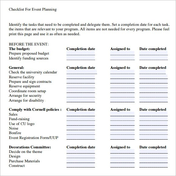 13+ Event Planning Checklist Template - Free Sample, Example, Format - event planning proposal