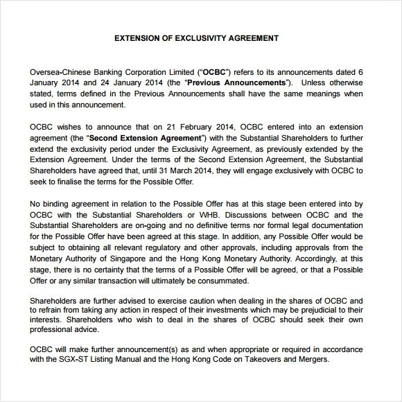 Contract Termination Sample Letter Notice Of Sample Exclusivity Agreement Template 6 Free Documents