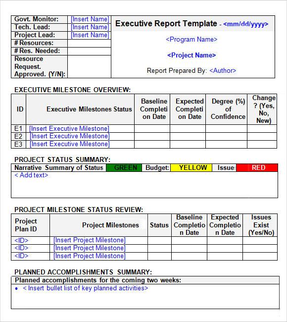 6+ Sample Executive Reports Sample Templates - executive report format
