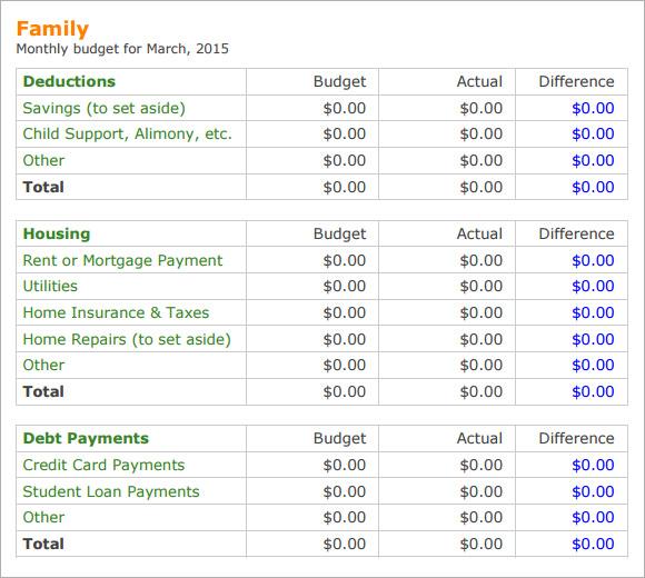 budget examples for family - Roho4senses - family budget template