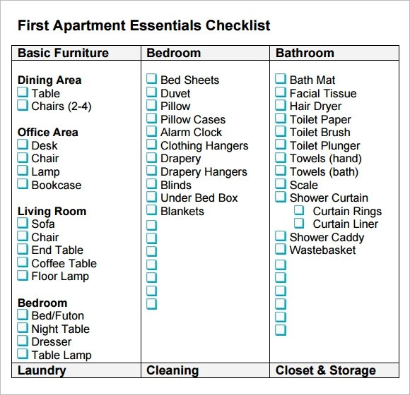 Sample New Apartment Checklist \u2013 7+ Documents in PDF, Word