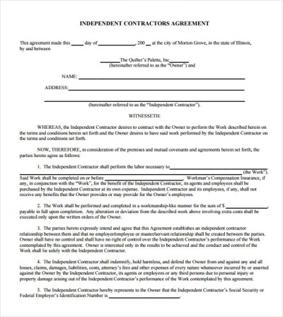 19+ Sample Independent Contractor Agreements | Sample Templates