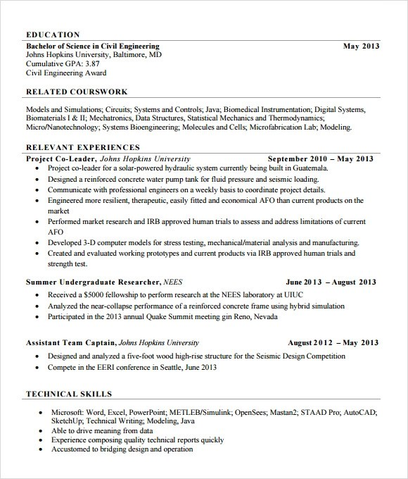 7+ Sample Civil Engineer Resume Templates \u2013 Free Samples , Examples - entry level civil engineering resume