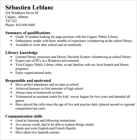 Example Resumes For Highschool Students Sample Student \u2013 resume