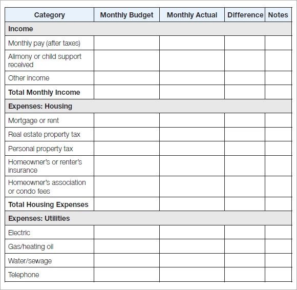 personal budgets templates excel