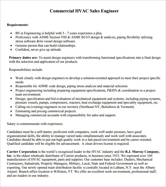 9 HVAC Resume Templates \u2013 Free Samples , Examples  Format Sample - hvac sales engineer sample resume