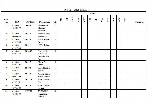 Sample Inventory Sheet - 7+ Examples, Format - inventory sheets printable