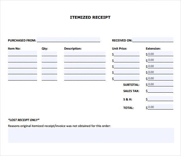 9+ Itemized Receipt Templates \u2013 Samples, Examples  Format Sample